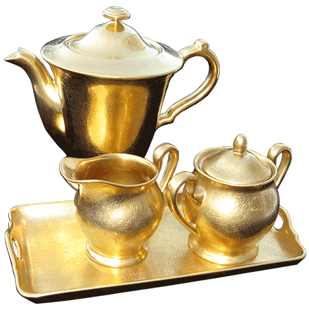 gold tea pot set with tray