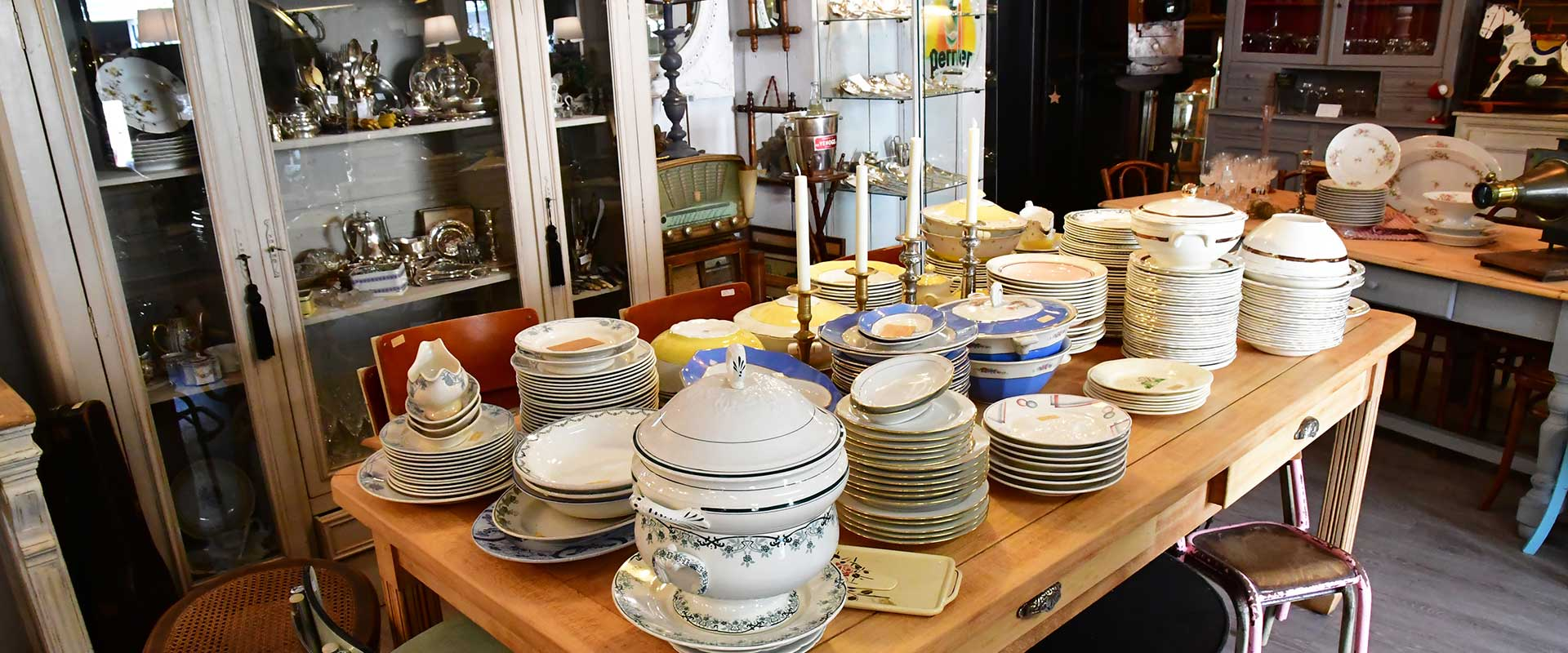 China dishes stacked on table